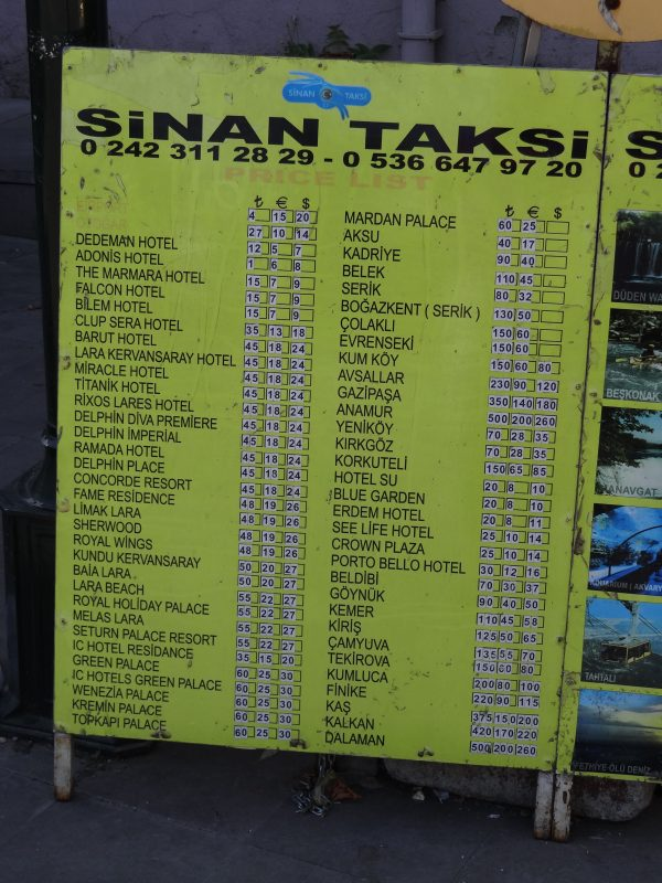 04. Preturi taxi - Antalya