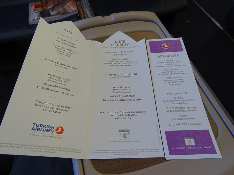71, Meniu mic dejun Turkish Airlines