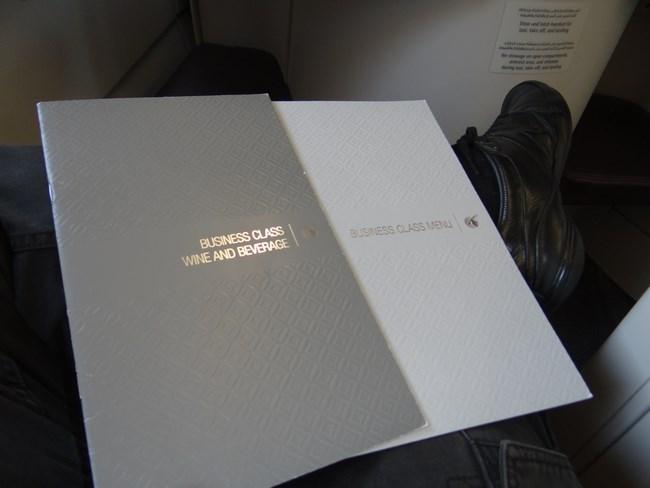 03. Menu business class Qatar Airways