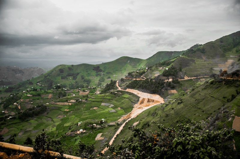 A view of the landscape in the Kibale district in Uganda, near the border of Rwanda, reveal subsistance farming from the bottom to the highest points of the hills and valleys.