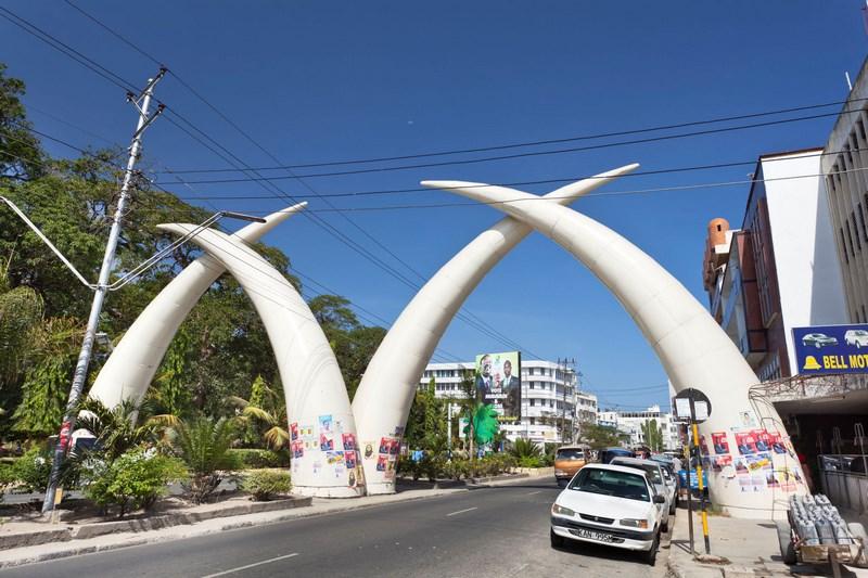 59349906 - mombasa, kenya - february 18: the famous giant elephant tusks on moi avenue in mombasa, kenya on february 18, 2013
