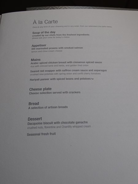 28. Menu business class Qatar Airways
