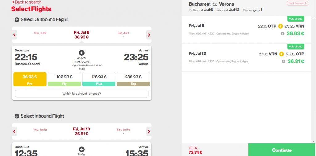 Ernest Airlines Bucuresti Verona