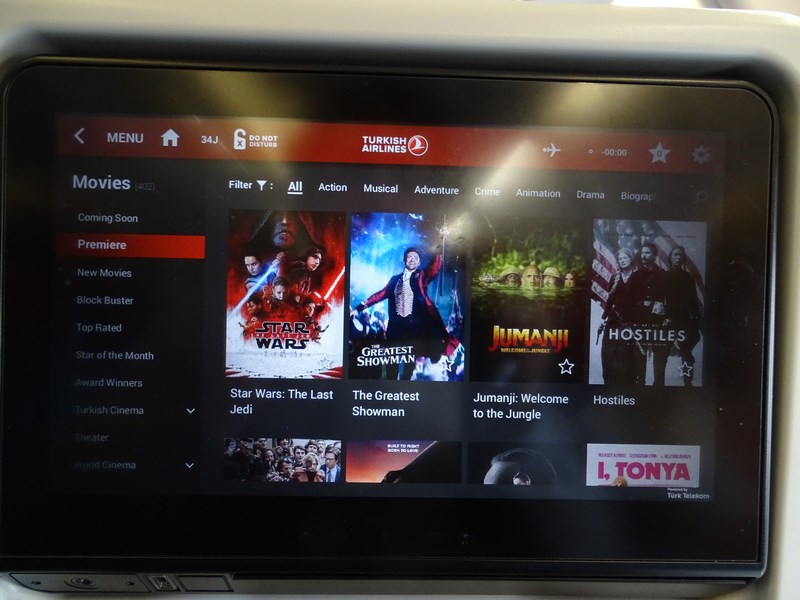 Entertainment Systen Turkish Airlines