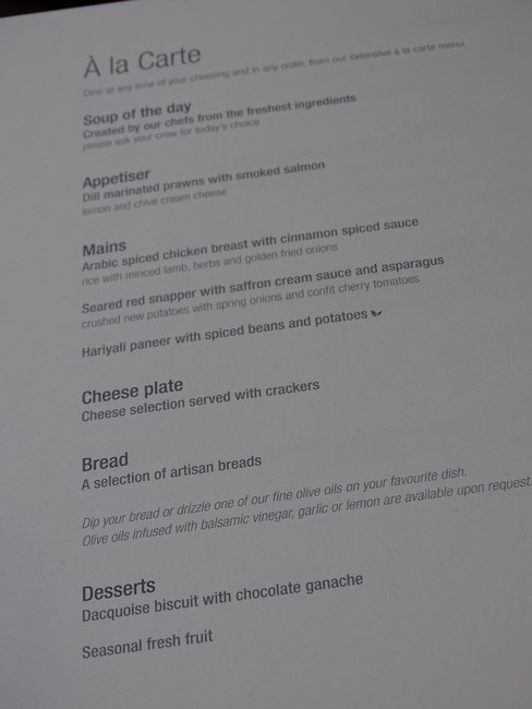 Business Class Menu Qatar Airways