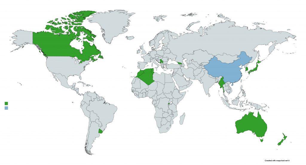 Harta lumii zonele verzi