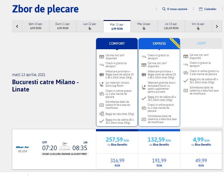 Blue Air Bucuresti Milano Linate