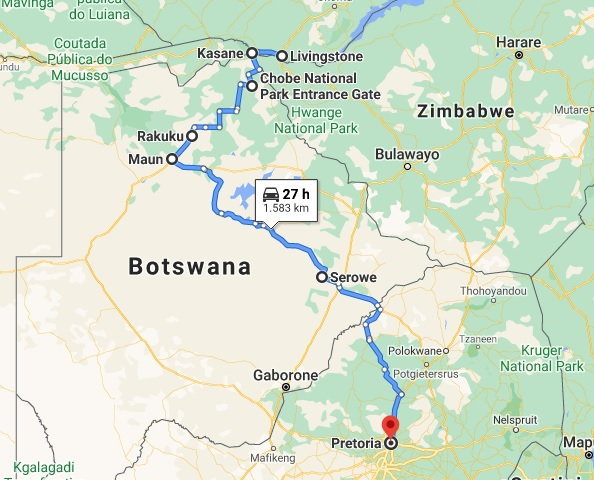 Harta Zambia Africa de Sud