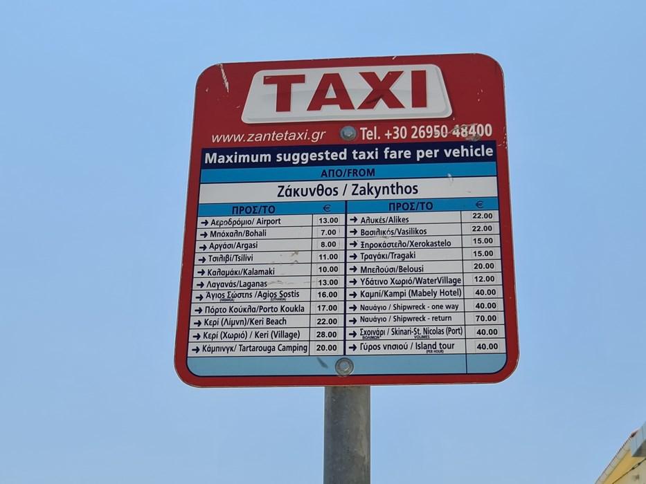 Tarife taxi Zakynthos